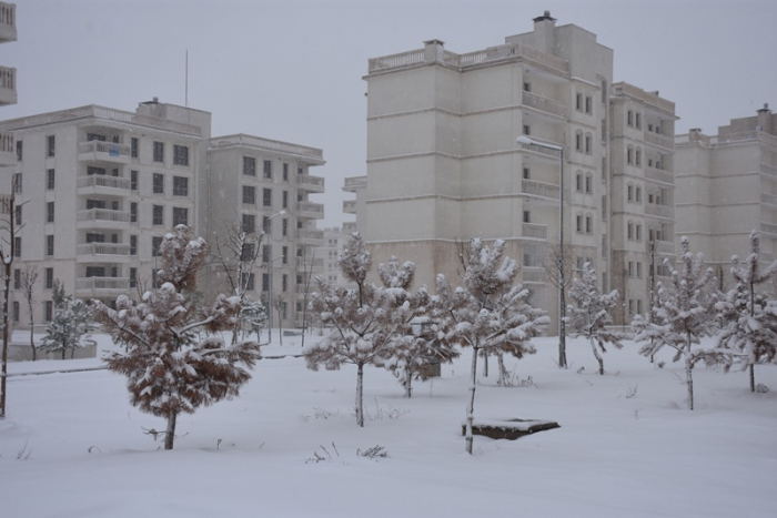 Nusaybin'de 7 yıl aradan sonra kar etkili oldu