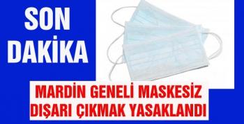 Mardin geneli maskesiz dışarı çıkmak yasaklandı