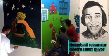 Nusaybinli ressamlar duvara sanat işliyor