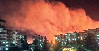 Suriye sınırındaki mayınlı alanda yangın çıktı