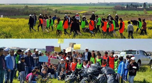 Nusaybin'de Öğrenciler tarihi tepede temizlik yaptı