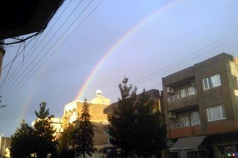 Yağmur sonrası çıkan Gökkuşağı manzaraları