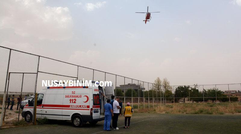 Kalp krizi geçiren hasta için helikopter
