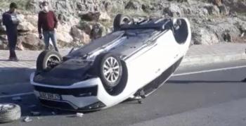 Beyazsu'da takla atan otomobilde, 1 kişi yaralandı