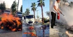 Yol ortasından yanan motosiklete TOMA ve Elektrik şirketi personeli müdahale etti