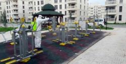 Nusaybin'de çocuk parklarında dezenfeksiyon yapıldı