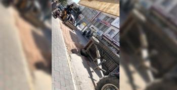 Nusaybin'de çukura kum döken traktör devrildi