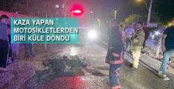 Nusaybin'de kaza yapan motosikletlerden biri yandı