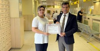 Nusaybin PTT İlçe Müdürlüğüne Teşekkür Belgesi verildi