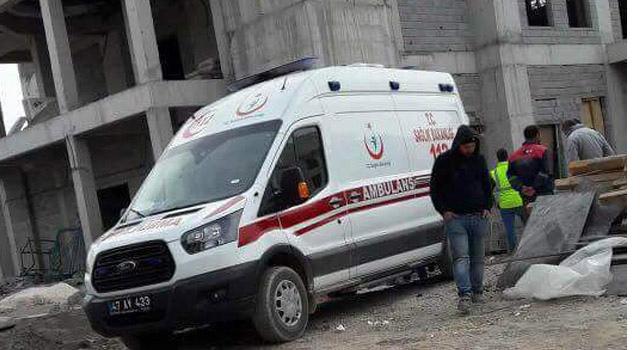 Nusaybin'de TOKİ Camisi inşaatından düşen işçi yaralandı