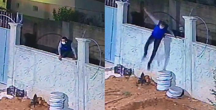 Avluya giren hırsız güvenlik kameralarına yansıdı