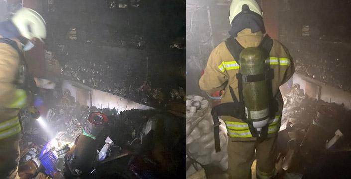 Su ve Elektrik tesisatı dükkânında yangın çıktı